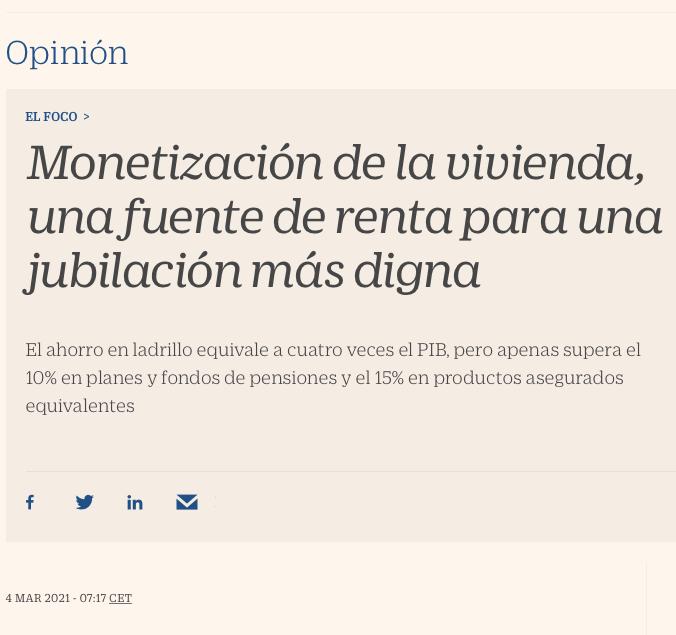 Monetización de la vivienda, una fuente de renta para una jubilación más digna. José A. Herce y José A. Puertas, CINCO DÍAS